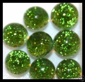 Lot of 6 XS TWINKLE OLIVE GREEN Fused Glass DICHROIC Cabochons NO HOLE Beads