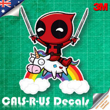 Deadpool Unicorn over Rainbow Decal Sticker - Car Luggage Skateboard. 3M 100mm