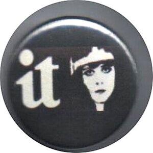"""IT logo 1"""" Button Badge underground magazine 60's Clara Bow Theda Bara anarchy"""