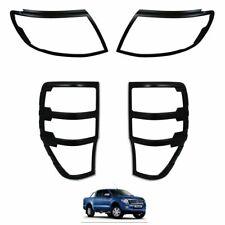 MATTE BLACK Front & Rear Light Cover Trims for Ford Ranger T6 Raptor 2012-2015