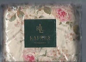 Ralph Lauren Woodstock Garden Floral Pink King Bed Skirt Roses Beige Green New