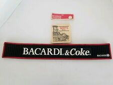 "Bacardi and Coke Rubber Bar Mat 22"" long with ""Scott's Bar"" Coasters"