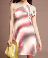 ANTHROPOLOGIE MAEVE RED BEIGE STRIPED ONE SHOULDER MARKETA DRESS Sz M