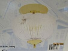 Ceiling Light fixture Flora Glass Globe and Brass Old Stock