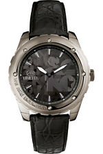 "Marc Ecko Men's E12551G1 ""The Riff"" Gunmetal Stainless Steel Black Leather Watch"