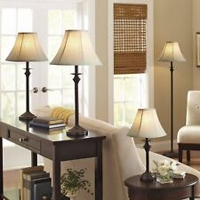 4-Piece Lamp Set Dark Brown Better Homes and Gardens Home Decor Living Room New