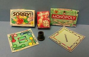 Dollhouse Miniature 3 Game Box & Boards  Monopoly, Sorry, Yahtzee & Shaker 1:12