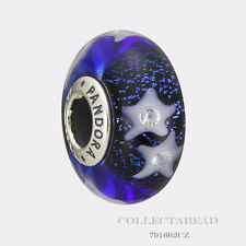 Authentic Pandora Silver Murano Starry Night Sky Clear CZ Bead 791662CZ