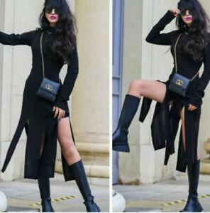 BNWT ZARA LIMITED EDITION BLACK DRESS WITH FRINGED HEM SIZE L