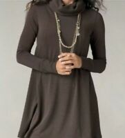 CAbi Womens Sz M Cowl Neck Tunic 596 Swing Turtle Neck Dress Brown Sweater