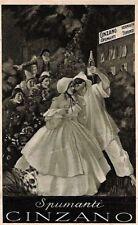 PUBBLICITARIA CINZANO Illustratore CAPPIELLO PC viaggiata 1935 Pulcinella