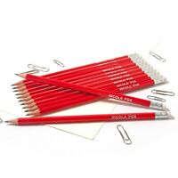 12 Red HB Pencils Personalised with Name High Quality Printed/Embossed Pencils