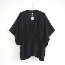 HOF115:COS Top bluse schwarz wolle / Deep V-neck kimono top wool black S/M