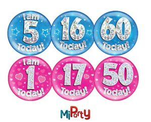 """Big Badge Birthday Party All Milestone Ages Male Female Boy Girl Pink Blue 6"""""""