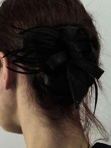 Fascinator Headpiece Damen Kopfschmuck Brosche Gothic Burlesque schwarz