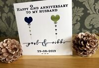 Handmade Personalised 1st 2nd 4th 5th 6th 7th 10th Anniversary card Husband Wife