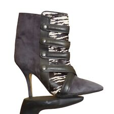 ISABEL MARANT-Grey Suede & Fur Boots, Size-39