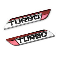 2Pcs Red 3D Turbo Logo Car Auto SUV Body Fender Emblem Badge Metal Sticker Decal