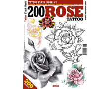 200 ROSE Flowers Tattoo Flash Design Book 64-Pages Color Black White Art Supply