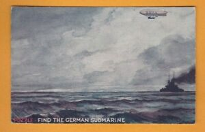Novelty- Hold to light Puzzle- Find the German Submarine.  Postcard