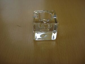 ORREFORS CRYSTAL ICE CUBE CANDLE HOLDERS BY SWEDEN