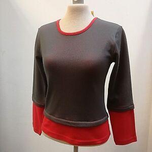 Shirt-Damen, EXACTLI, Two in one 0pt, Rundhals, Netzoptik, Paspel, 3/4 Arm Optik