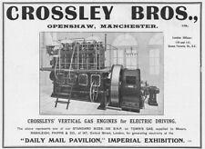 CROSSLEY BROS Openshaw, Vertical Gas Engines - Antique Engineering Advert 1909