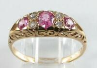 CLASS 9CT 9K GOLD PINK SAPPHIRE  DIAMOND ART DECO INS ETERNITY RING FREE SIZE