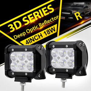 "2X 4"" 18W  LED WORK LIGHT BAR SPOT BEAM MOTORCYCLE OFFROAD DRIVING FOG LAMP 12V"