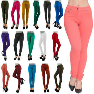 Skinny Womens Jeans Stretchy Jeggings Ladies New Fit Coloured Trousers Size 8-26