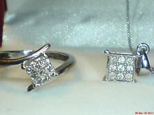 9ct gold hallmarked real natural diamond ring & matching diamond pendant