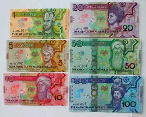 Turkmenistan __ set 6 banknotes 1 5 10 20 50 100 Manat 2020 UNC comm. Lemberg-Zp