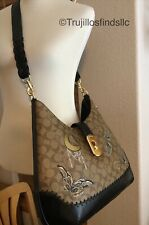 Coach Large Hobo Signature Canvas With Chelsea Animation Whipstitch F76660 New