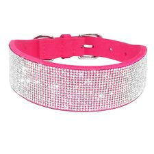 Full Bling Rhinestone Pet Dog Collar Seude Leather Large Dog Necklace Pink Black