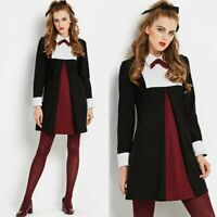 Vintage 1960s goth mod babydoll unique tent black red and white bowtie mini dres