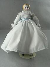 Antique German China Head Doll Blonde w/ Original Blue Dress Circa 1880 w/ stand