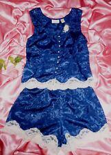 NWT VinTage Victoria's Secret Navy Blue Satin Pajama 2 Pc Set Lace Pearl Button