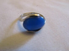 Silver Tone & Blue Plastic Oval Ring in Size N - NWOT