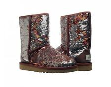 UGG AUSTRALIA WOMEN CLASSIC SHORT BOOTS SPARKLES SEQUIN AUTUMN BROWN SIZE 8 NEW