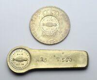 RARE Brazil - SANPEX III counterstamp (1956) 960 Reis 1816 Coin + Ingot SILVER