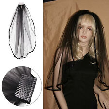 Black Beautiful Gothic Wedding Veil Edge Comb Elbow Length Fancy Dress Party