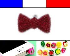 Cache anti-poussière jack universel iphone capuchon bouchon Noeud Rouge Foncé