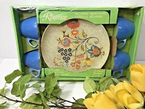 NOS! Vintage Set 16 Piece Roymac Melamine Dinnerware Service for 4-Floral SEALED
