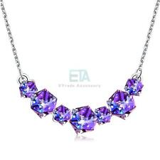 SMILING PURPLE CUBIC PENDANT NECKLACE - WOMEN LADY WIFE MOM BIRTHDAY GIFTS