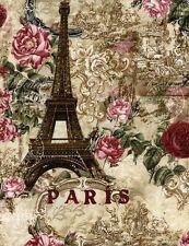 PARIS RENDEZVOUS~Cherubs~Roses~ Eiffel Tower ~ Toile ~Quilt~  Fabric ~per 1/2 yd