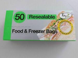 Freezer Bags & Sandwich Food Resealable Bags 17cm x 19cm 50 Pack