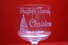 6 x Personalised Wine Glass Surname Family Christmas With Xmas Tree Stackable