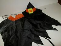 DOG Pet WITCH COSTUME FELT HAT & CAPE 2pc One Size TIE ON