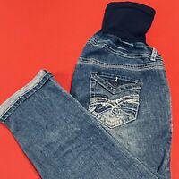 INDIGO  BLUE . Maternity Distressed Embroidered Boyfriend Jeans . Size XL . NEW