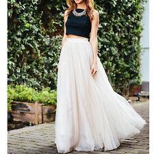 Women Tulle Mesh Full Skirt Elastic High Waist 3 Layers Pleated Maxi Long Dress